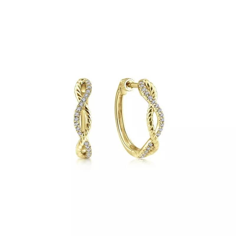 Gabriel & Co. Yellow Gold 15mm Twisted Rope and Diamond Huggies