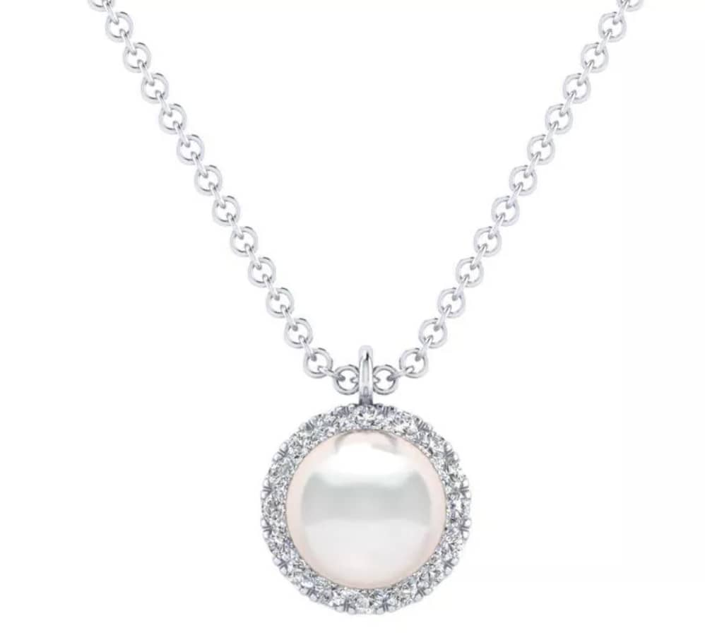 Gabriel & Co.'s 14K White Gold Cultured Pearl and Diamond Halo Pendant Necklace
